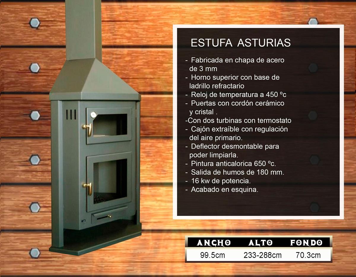 Estufa de leña de rincón con turbinas.Modelo Asturias.16KW.P.V.P.1260€